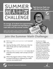 Small image of black and white Summer Math Challenge flyer.