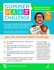 Small image of color Summer Math Challenge flyer.